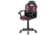 Kancelářská židle, červená-černá ekokůže, výšk. nast., kříž plast černý