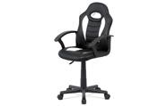 Kancelářská židle, bílá-černá ekokůže, výšk. nast., kříž plast černý