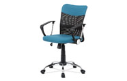 Juniorská kancelářská židle, modrá látka, černá MESH, houpací mech, kříž chrom