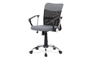 Juniorská kancelářská židle, šedá látka, černá MESH, houpací mech, kříž chrom
