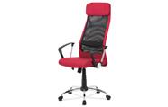 Kancelářská židle, bordó látka, černá MESH, houpací mech, kříž chrom