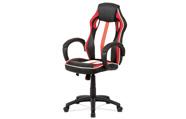 Kancelářská židle, červená-černá-bílá ekokůže+MESH, houpací mech, kříž plast čer