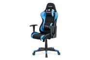 Kancelářská židle, modrá ekokůže + černá látka, houpací mech., plastový kříž