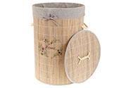 Koš prádelní z bambusu, kulatý, barva šedá s potiskem