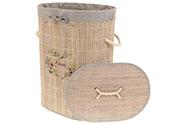 Koš prádelní z bambusu, ovál, barva šedá s potiskem
