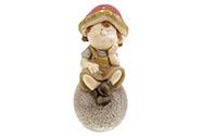 Houbový chlapec na kameni zahradní MgO keramika