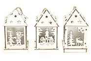 Lucernička dřevěná vánoční dekorace ,  s LED světlem , mix 3 druhů , cena za 1 k