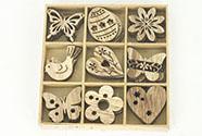 Dřevěné jarní dekorace, mix 36 kusů v dřevěné krabičce, cena za 1 krabičku
