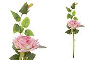 Růže s poupětem, barva růžová. Květina umělá.