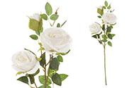 Růže, dva květy s poupětem, barva bílá. Květina umělá.