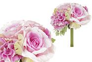 Hortenzie a růže, puget,  barva lila. Květina umělá.