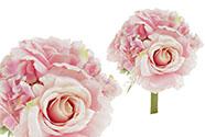 Hortenzie a růže, puget,  barva růžová. Květina umělá.