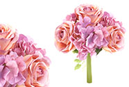 Hortenzie a růže, puget, barva lila a růžová. Květina umělá.