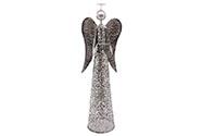 Anděl, kovová dekorace, svícen na čajové svíčky, kovová barva.