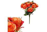 Růže, puget, barva červeno-oranžová. Květina umělá.