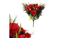 Karafiáty, puget, barva červená. Květina umělá.
