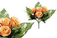 Růže, puget, barva oranžová. Květina umělá.