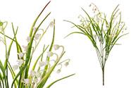 Konvalinky, puget, barva bílá s lila. Květina umělá plastová