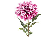 Jiřinka,  barva tmavá růžová ojíněná. Květina umělá.