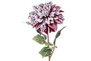 Jiřinka, barva purpurová ojíněná. Květina umělá.