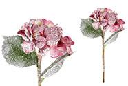 Hortenzie, barva purpurová ojíněná. Květina umělá.