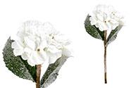 Hortenzie, barva krémová  ojíněná. Květina umělá.