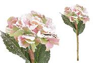Hortenzie, barva zelenopurpurová  ojíněná. Květina umělá.