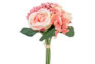 Pivoňka a hortenzie, barva růžová. Květina umělá.