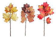 Větvička s lístky javoru, podzimní umělá dekorace