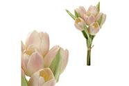 Tulipán, barva bílo-růžová. Materiál pěna. Cena za 1 kus, ve svazku je 6 kusů.