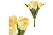 Mini tulipán, barva krémovo-lososová. Materiál pěna. Cena za 1 kus, ve svazku je