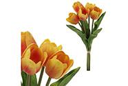 Mini tulipán, barva oranžovo-žlutá. Materiál pěna.Cena za 1 kus, ve svazku je 5