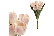 Mini tulipán, barva bílo-růžová. Materiál pěna. Cena za 1 kus, ve svazku je 5 ku