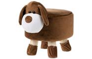 Taburet - pes, potah kombinace hnědé a bílé látky mikroplyš, masivní nohy z kauč