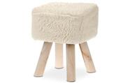 Taburet, potah krémová stříhaná umělá kožešina, masivní nohy z kaučukovníku v př