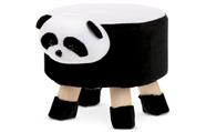 Taburet - panda, kombinace černé a bílé látky mikroplyš, masivní nohy z kaučukov