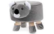 Taburet - koala, potah kombinace šedé a bílé látky mikroplyš, masivní nohy z kau