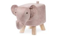 Taburet - slon, potah starorůžová látka v dekoru vintage kůže, masivní nohy z ka