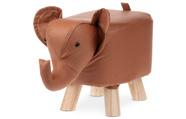 Taburet - slon, potah skořicově hnědá látka v dekoru kůže, masivní nohy z kaučuk