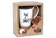 Hrnek porcelánový s korkem a porcelánovou lžičkou v ozdobné krabičce, obsah 330