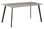Jídelní stůl 150x80x76 cm, MDF dekor beton, kovová čtyřnohá podnož, černý matný