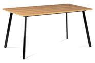 Jídelní stůl 150x80x76 cm, MDF dekor divoký dub, kovová čtyřnohá podnož, černý m
