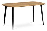 Jídelní stůl, MDF deska 3D dekor dub, kov černá barva