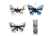 Motýl s klipem, 6ks v krabičce, mix barev, cena za 1 krabičku