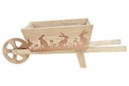 Truhlík na květiny dřevěný , tvar vozíku s dekorem zajíčků