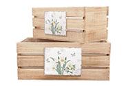 Bedýnky dřevené s dekorem narcisek a motýlků, sada 2ks.