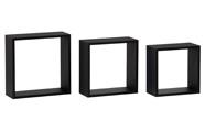 Nástěnná polička, sada 3 ks, barva černá matná