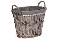Košík oválný, proutěná dekorace s látkou, barva šedá