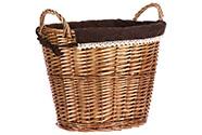 Košík oválný, proutěná dekorace s látkou, barva přírodní