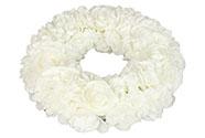 Věnec z pěnových růžiček, barva bílá, umělá dekorace